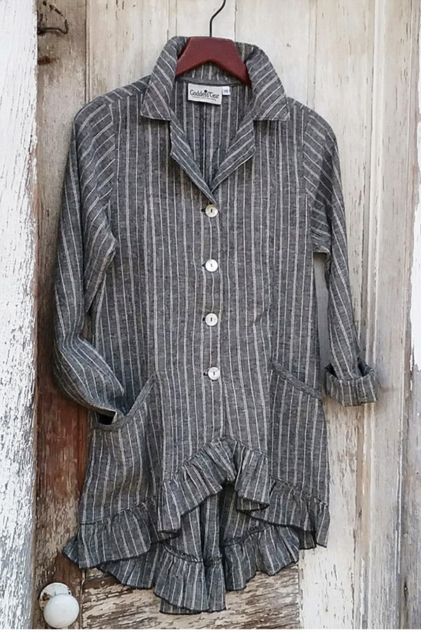 hemp organic cotton ruffle jacket in charcoal stripe