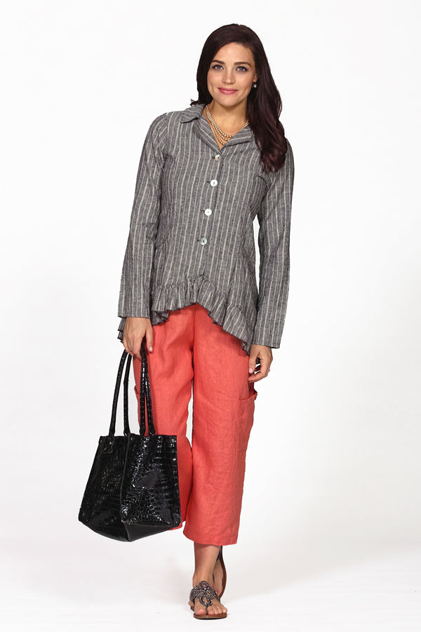 hemp organic cotton ruffle jacket in charcoal stripe on model