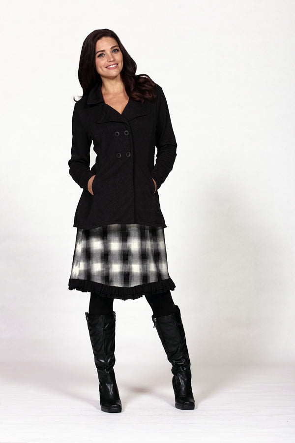 hemp fleece pea coat in black