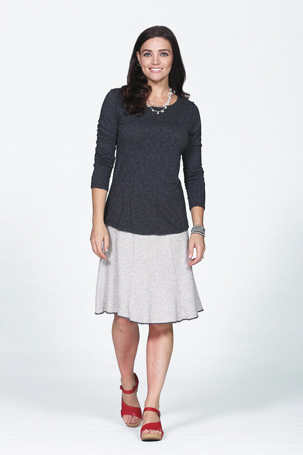 knit skirt in charcoal and white stripe