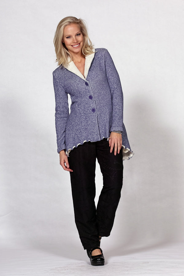 shawl collar jacket in denim