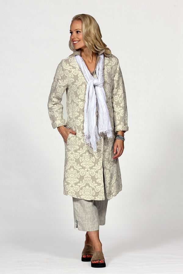 linen overcoat with scarf