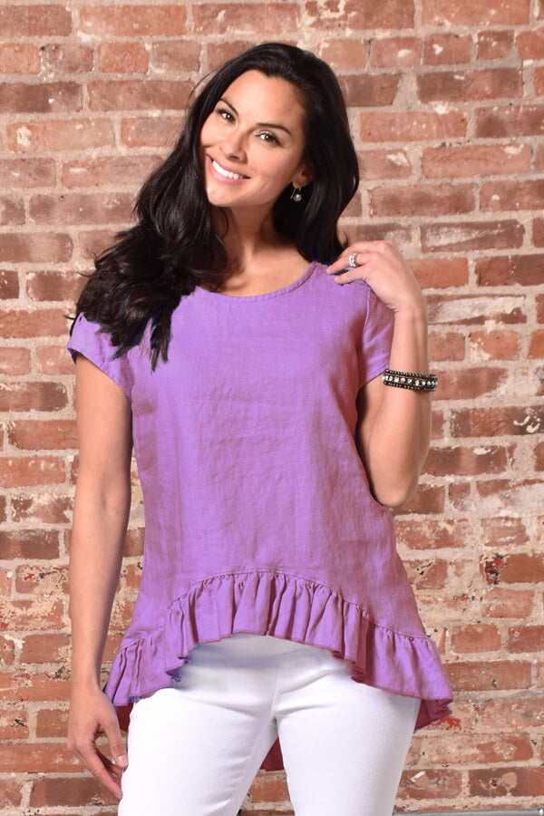 linen ruffle top in plum