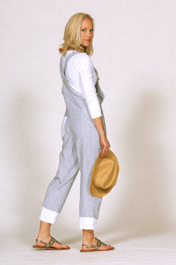 linen cotton overalls in mini stripe side view