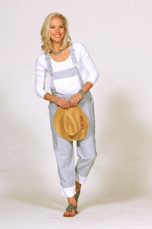linen cotton overalls in mini stripe with hat