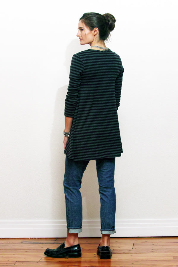 bamboo tunic on model in black and charcoal stripe back view