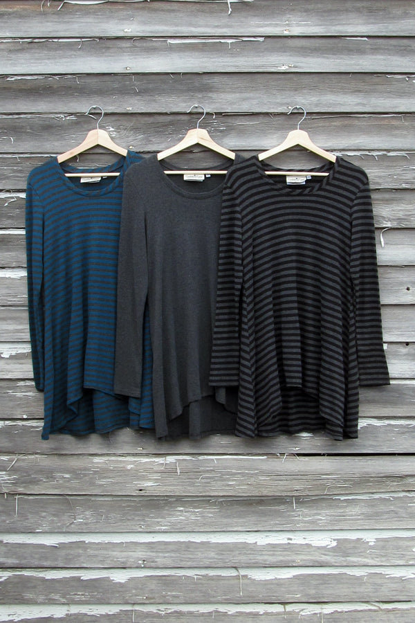 bamboo tunic charcoal and stripes