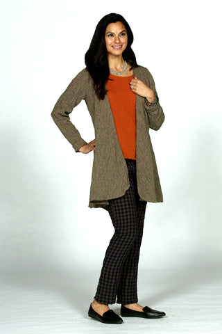 4213 crinkle open front cardigan