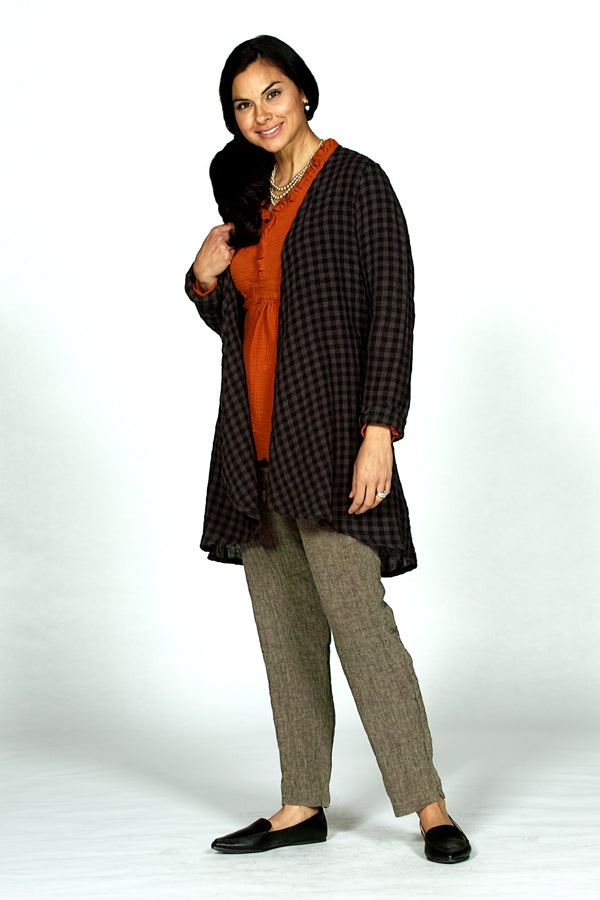 linen open front cardigan in black check