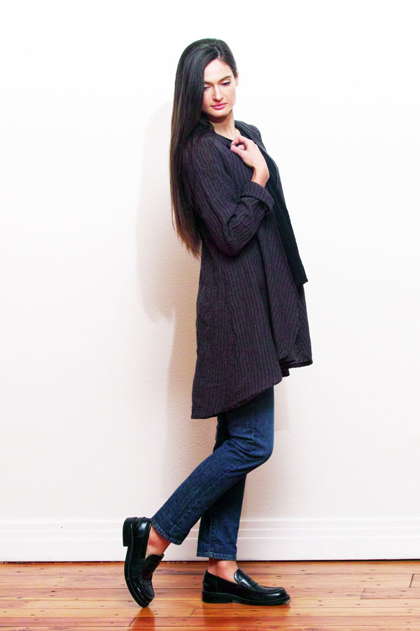 linen open front cardigan in charcoal stripe