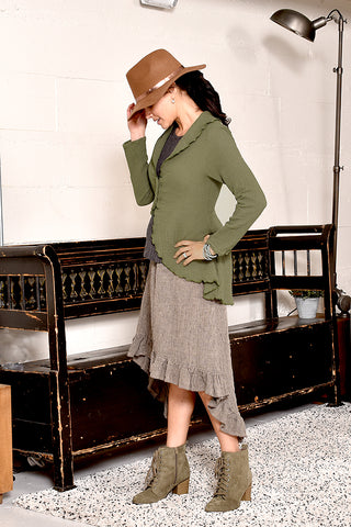 4216 gauze shawl collar cardigan