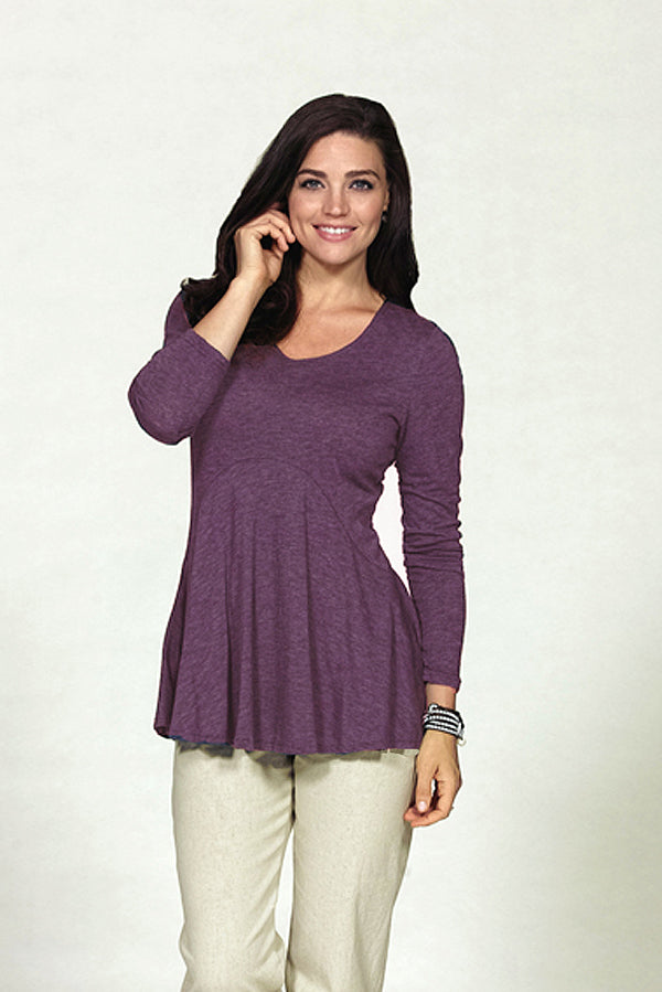 seamed bamboo knit tunic in mulberry