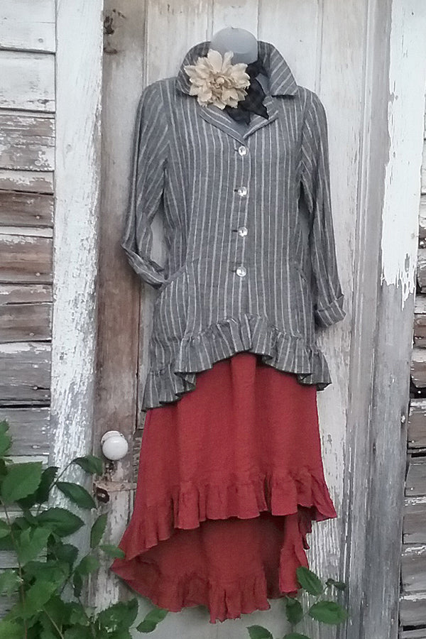 linen ruffle skirt in brick