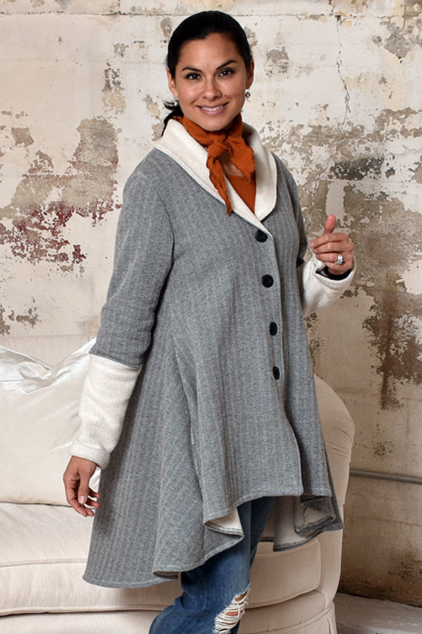 charcoal tweed fleece flare coat