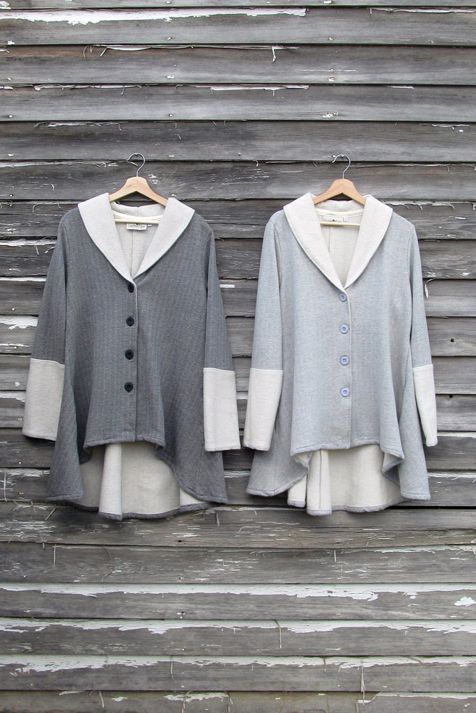 cotton flare coat in charcoal and iron