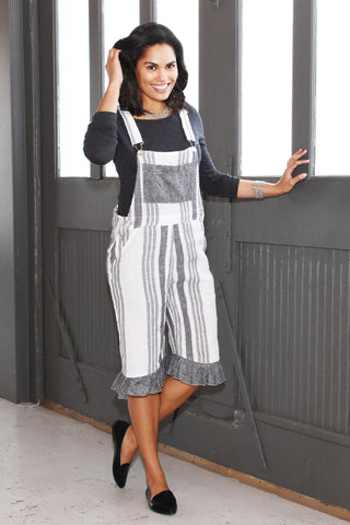 4310 ruffled linen shortalls