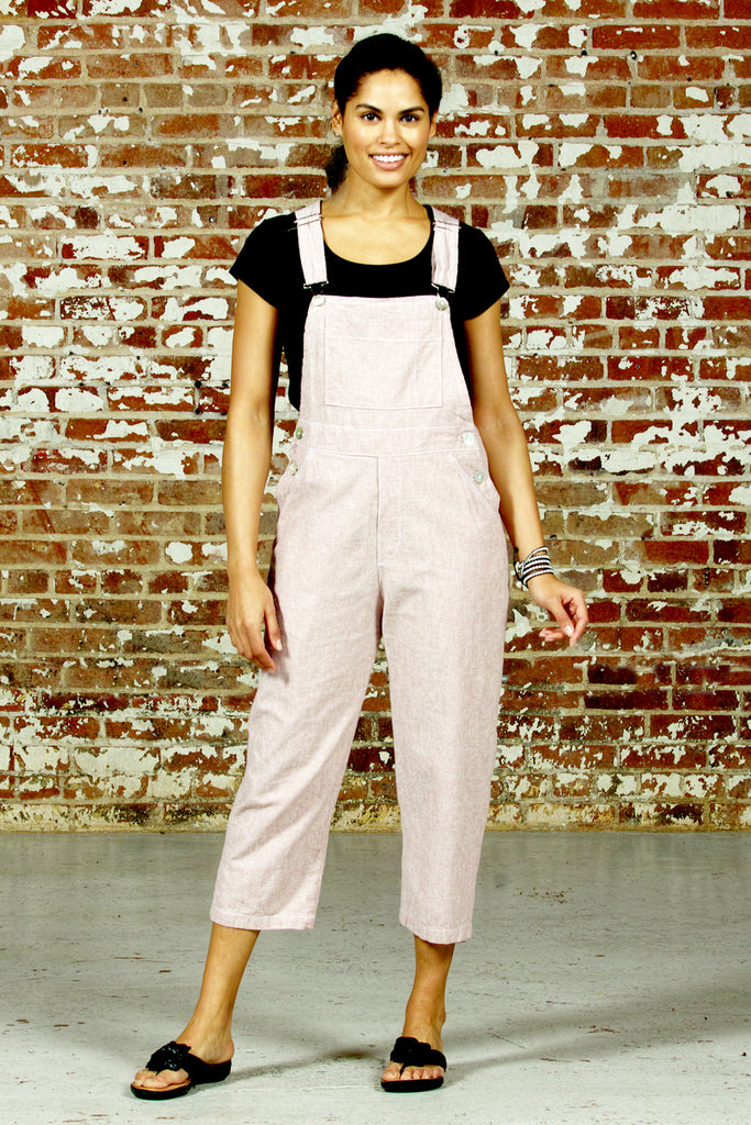 linen cotton overalls in dusty rose