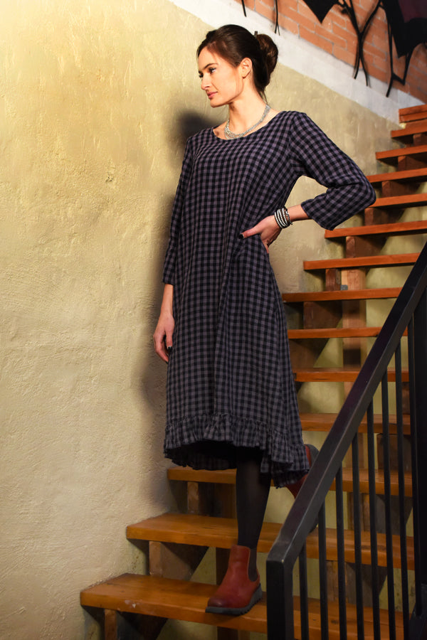 linen ruffle dress in indigo check