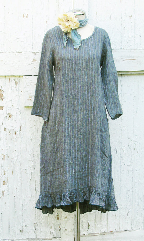 linen ruffle dress in teal stripe