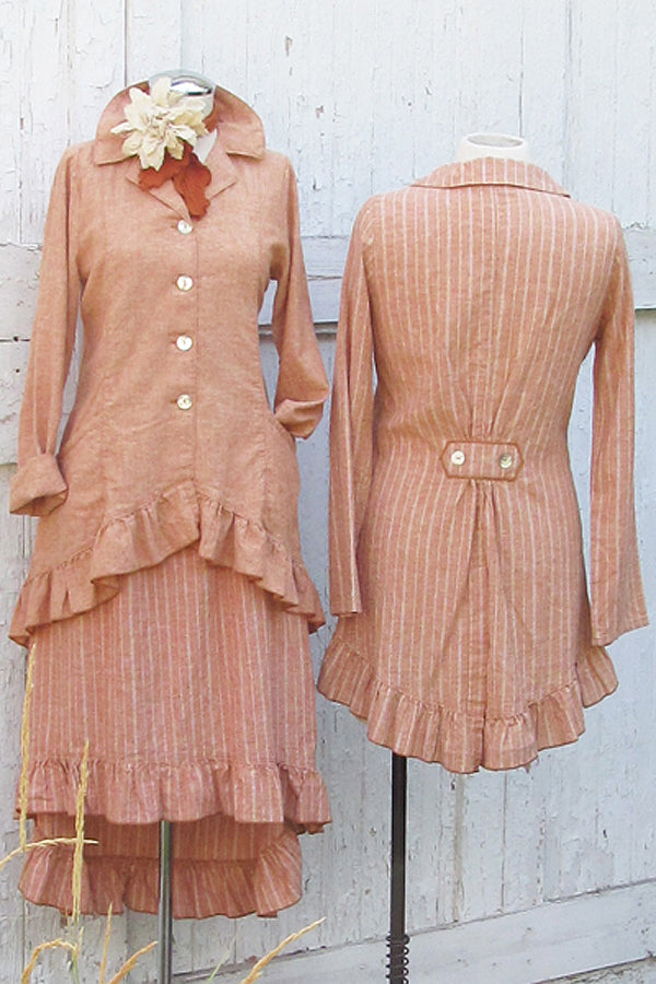 hemp organic cotton ruffle jacket in rust