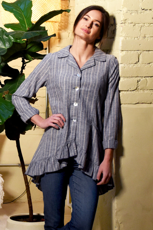 hemp organic cotton ruffle jacket in denim stripe