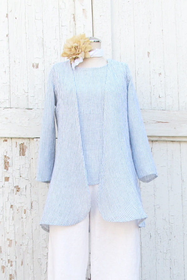 linen cardigan in sky stripe