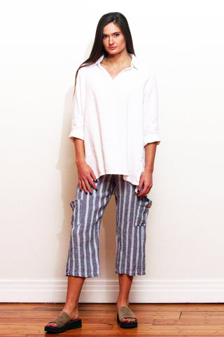 crinkle linen pocket pants