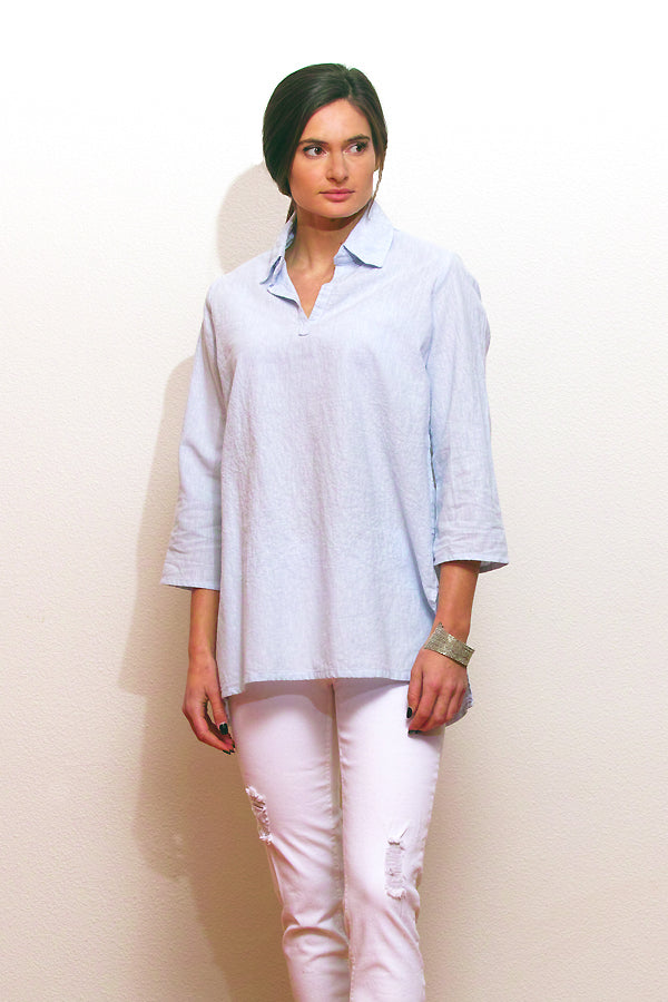 linen blend tunic in sky blue