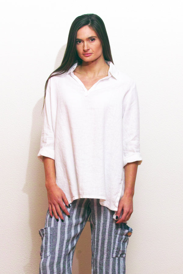 linen tunic in white