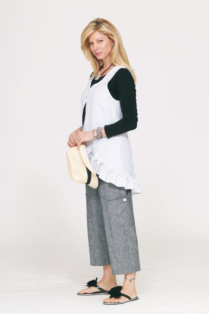 linen blend pocket pant in charcoal