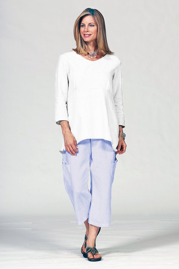 linen cotton pocket pants in sky blue
