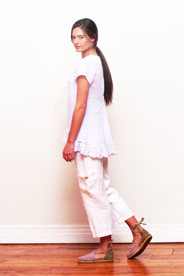 linen pocket pants in white