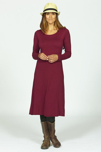 bamboo knit dress in cranberry