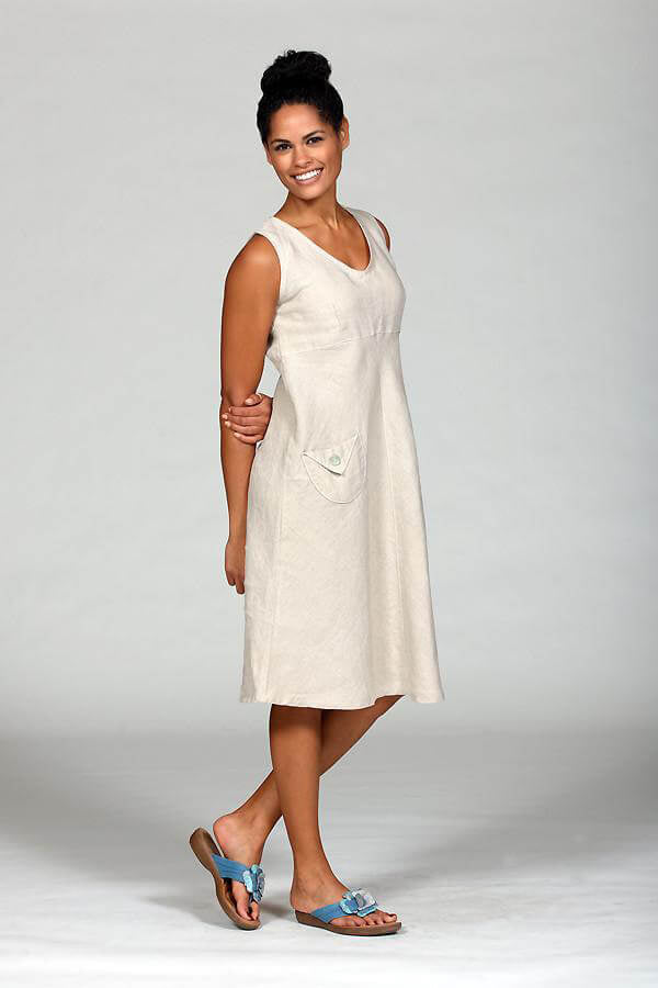 day dress in natural linen flax