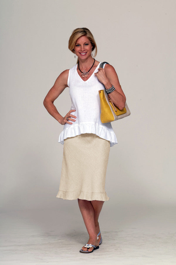 linen skirt with flounce in flax