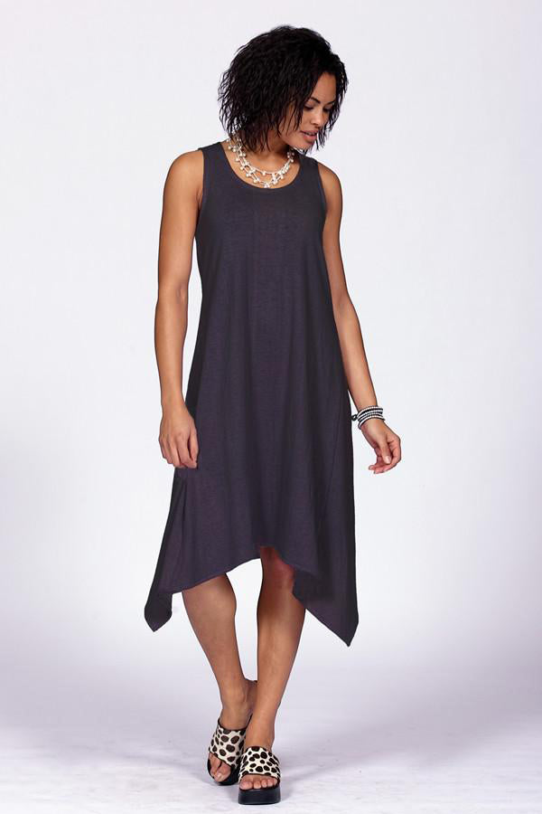 black tank dress in organic cotton and hemp