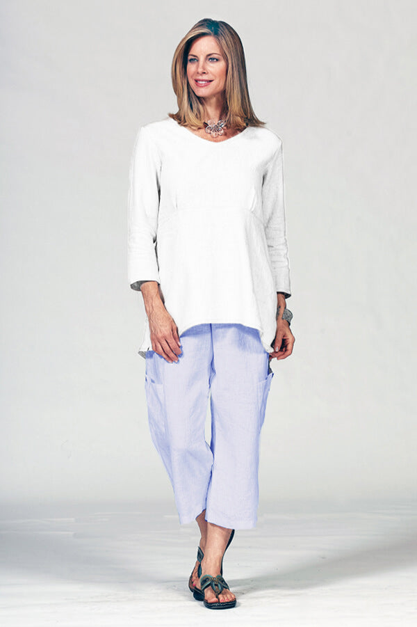linen cotton pant with pockets in sky blue