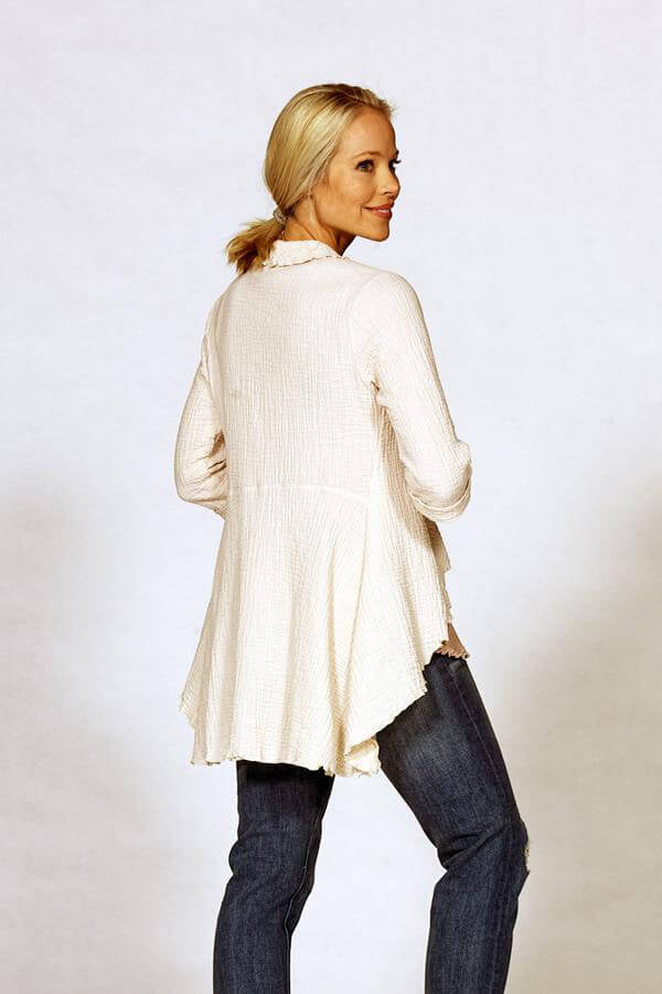 3/4 sleeve shirts in ivory cotton gauze