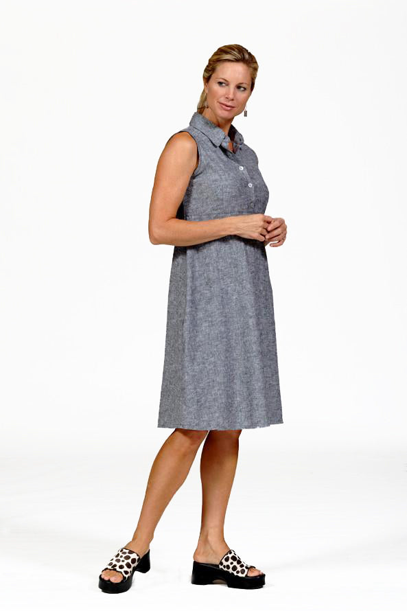 linen shirtwaist dress in gray