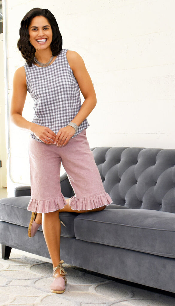 womens linen bloomers shorts in dusty rose