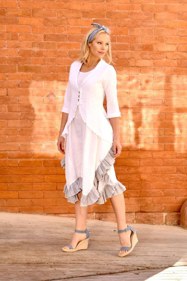 linen dress with ruffle hem in white, with white gauze cardigan