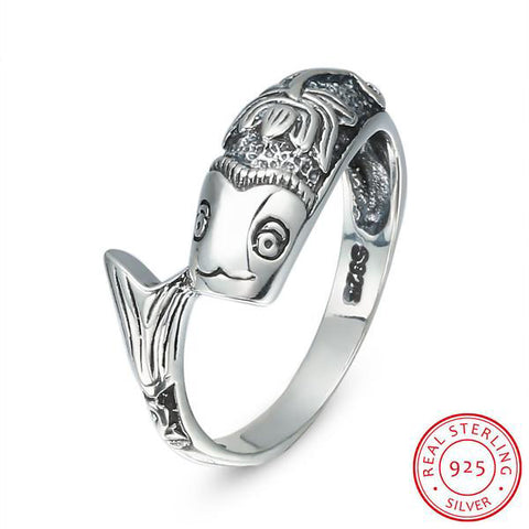 Sterling-Silver Fish Lotus Ring