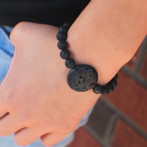 Black Lava Bead Essential Oil Diffuser Bracelet