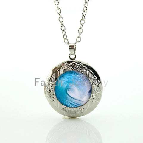 Blue Sea Wave Pendant Necklace