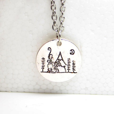 Camping Under The Moon Mountain Necklace