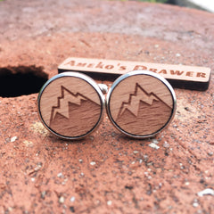 Alpine Snowy Mountain Wood Cufflinks