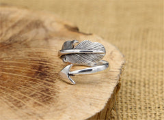 Sterling Silver Indian Feather Arrow Ring