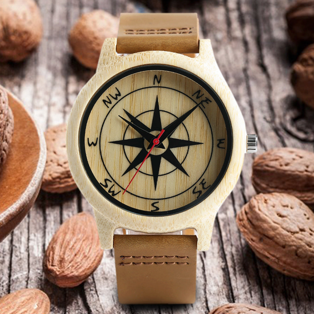 Nature Inspired Compass Dial Bamboo Watch
