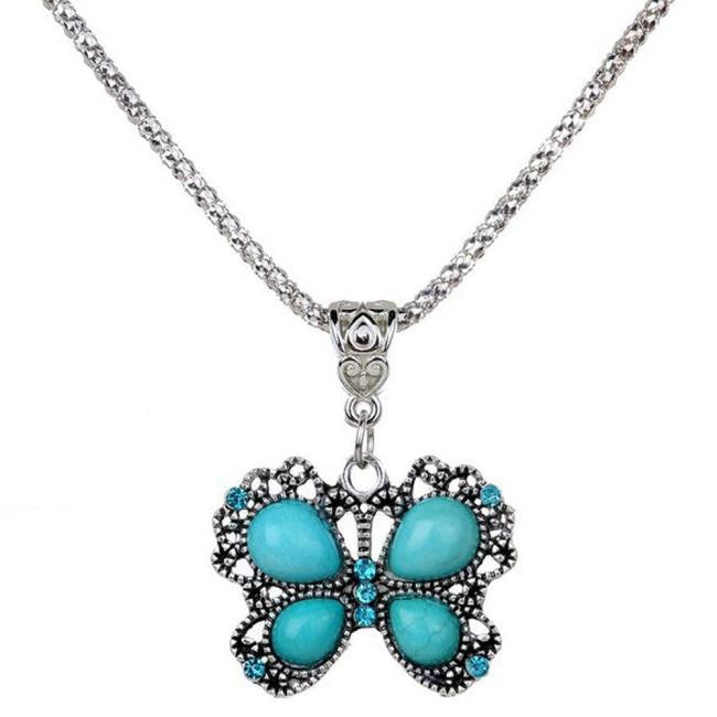 Vintage Butterfly Turquoise Pendant Necklace