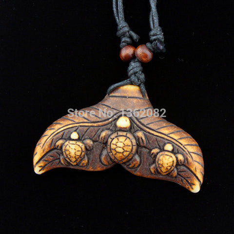 Lucky Whale Tail And Turtle Surfing Pendant Necklace